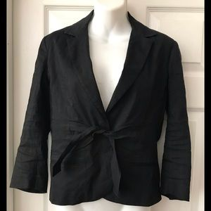 THEORY BLACK LINEN BLEND 3/4 SLEEVES SNAP TIE 8